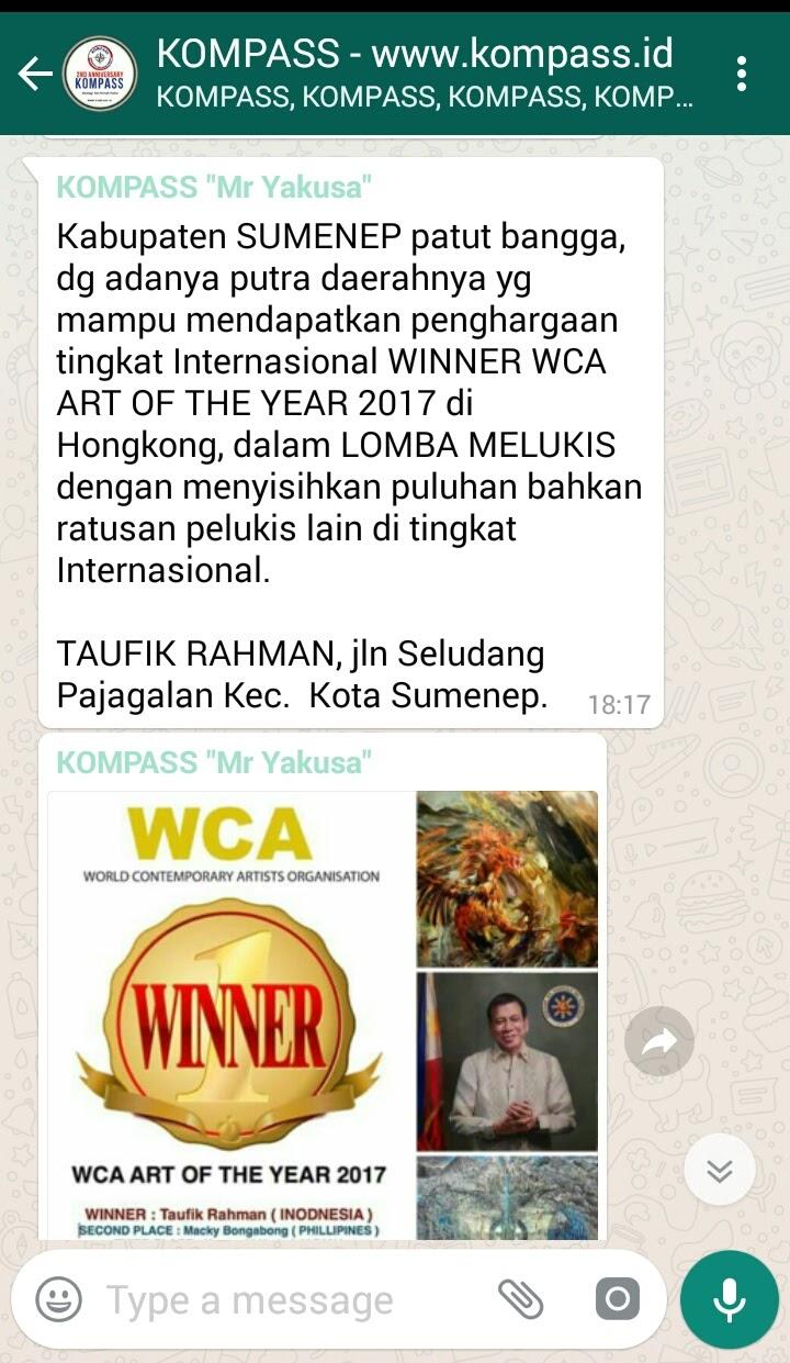 Putra Daerah Sumenep Mendapatkan Penghargaan Tertinggi Dari WCA