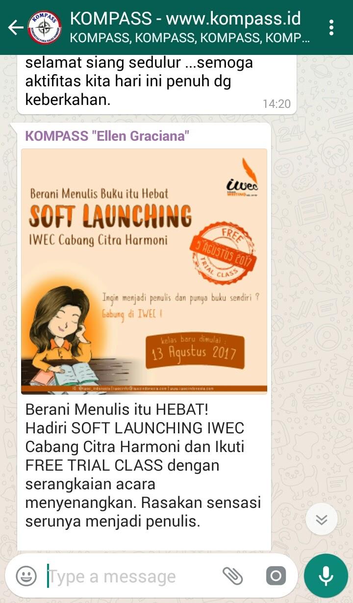 Soft Launching IWEC Cabang Citra Harmoni - Berani Menulis Itu Hebat