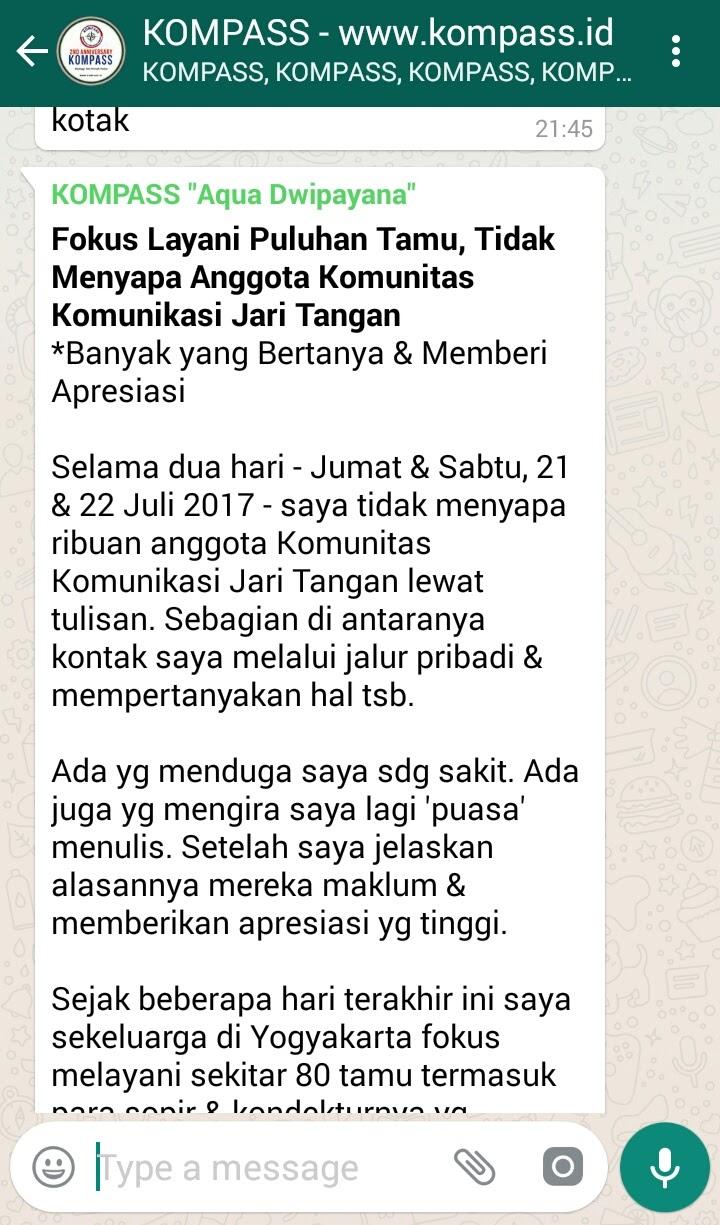 Wejangan Dr. Aqua Dwipayana 23 Juli 2017