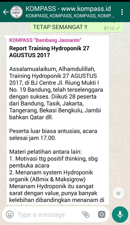 Penyampaian Report Bambang Jasnanto Di WAG KOMPASS