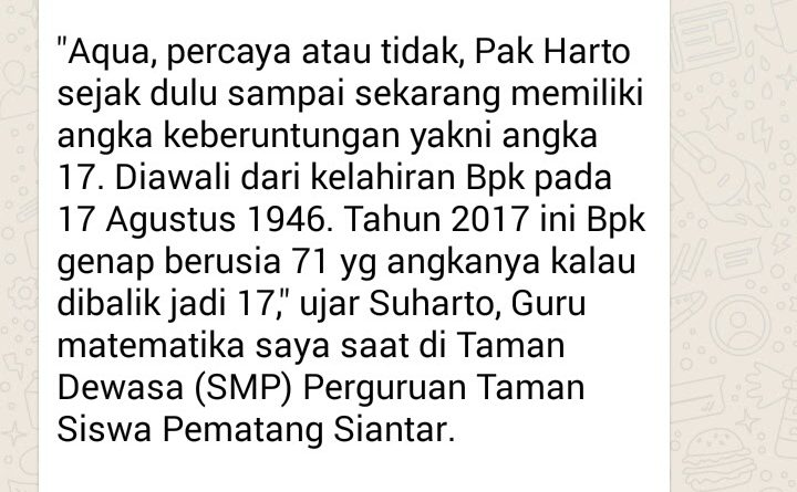 Serba 17 Angka Keberuntungan Suharto, Guru Matematika SMP Taman Siswa Siantar