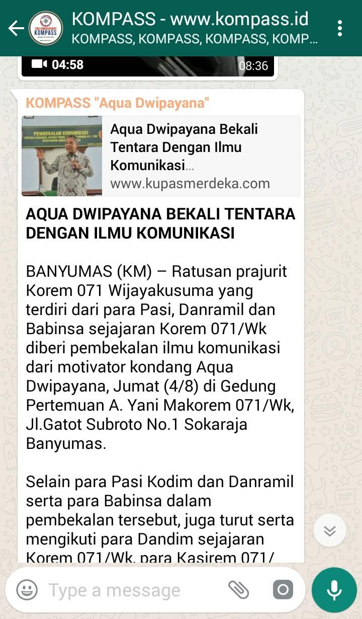 Wejangan Dr. Aqua Dwipayana 5 Agustus 2017