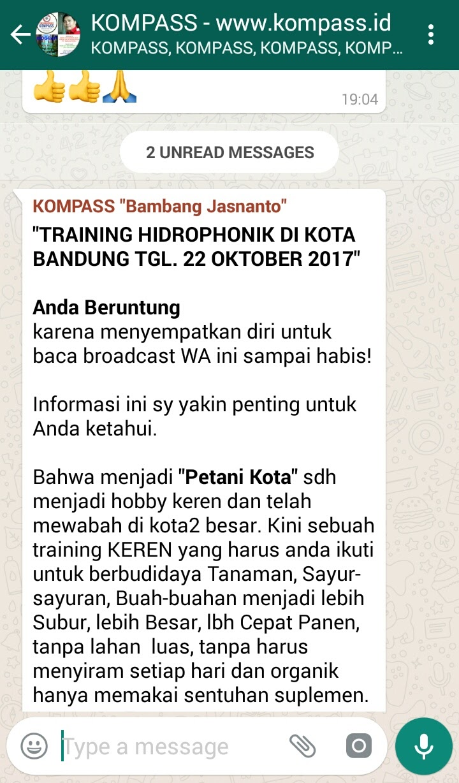Pernyataan Bambang Jasnanto melalui WAG KOMPASS kompass.id