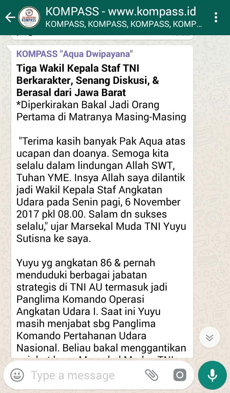 Tiga Wakil Kepala Staf TNI Berkarakter, Senang Diskusi, & Berasal dari Jawa Barat