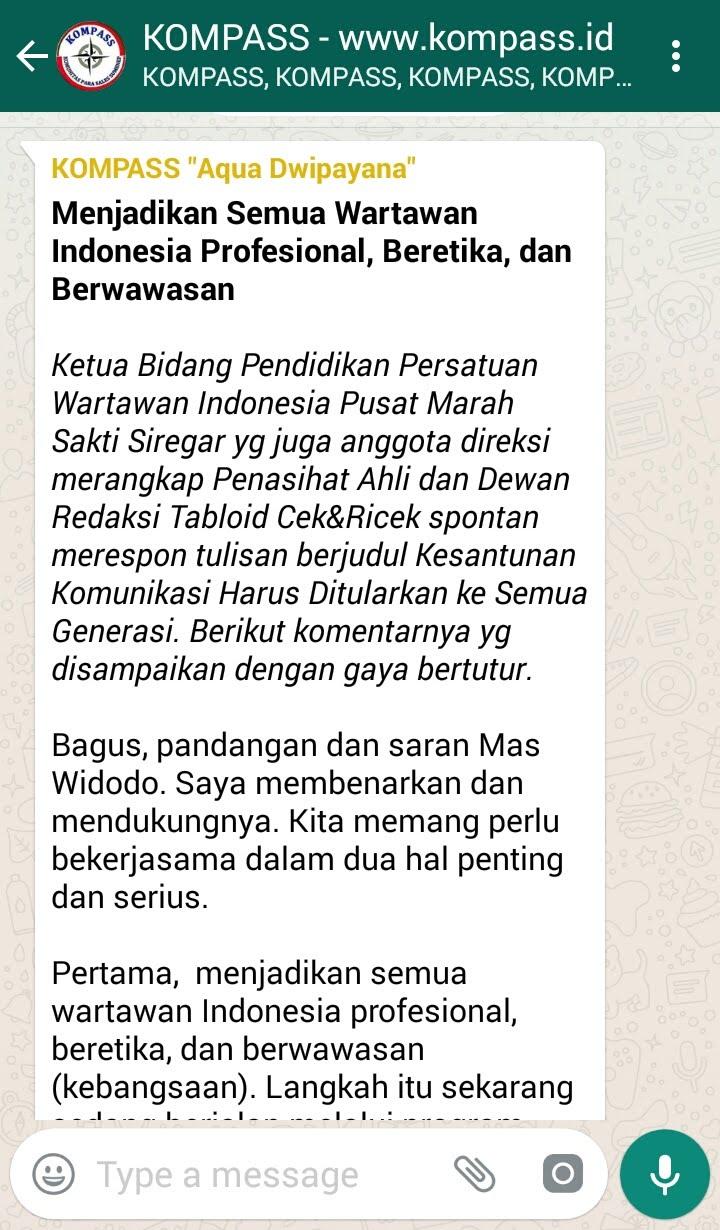 Menjadikan Semua Wartawan Indonesia Profesional, Beretika, dan Berwawasan