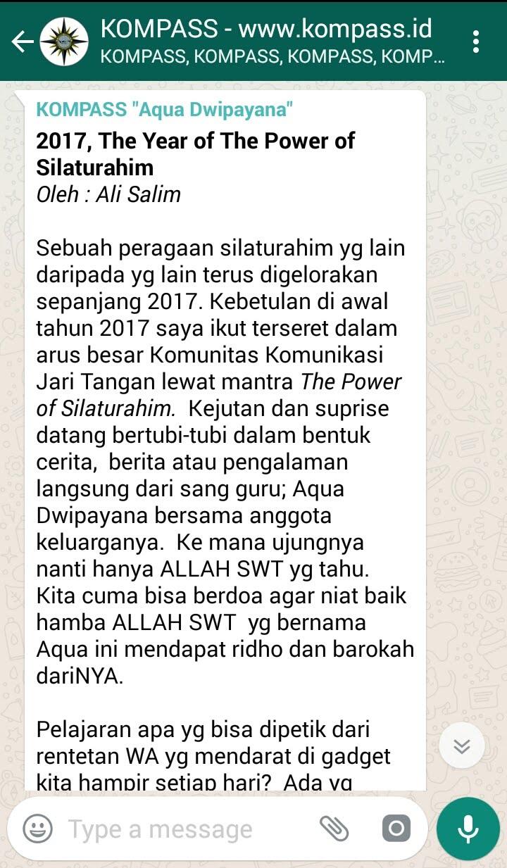 Penyampaian AQUA DWIPAYANA Pakar SILATURAHIM Indonesia melalui WAG KOMPASS Nusantara
