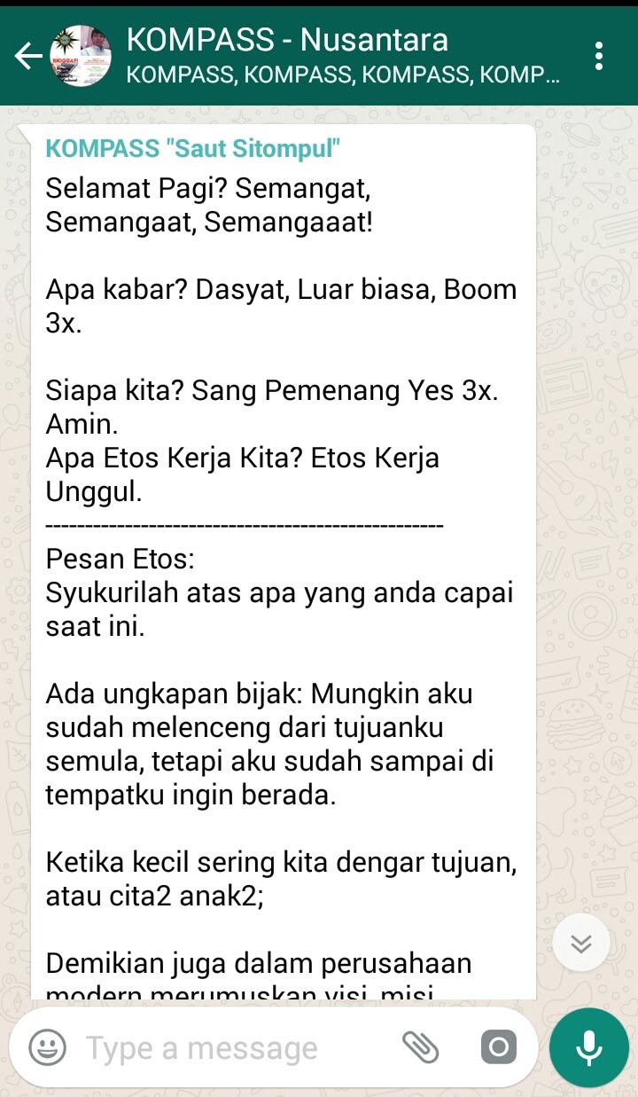 Penyampaian Mr Spirit Saut Sitompul Ethos Master Indonesia melalui WAG KOMPASS Nusantara