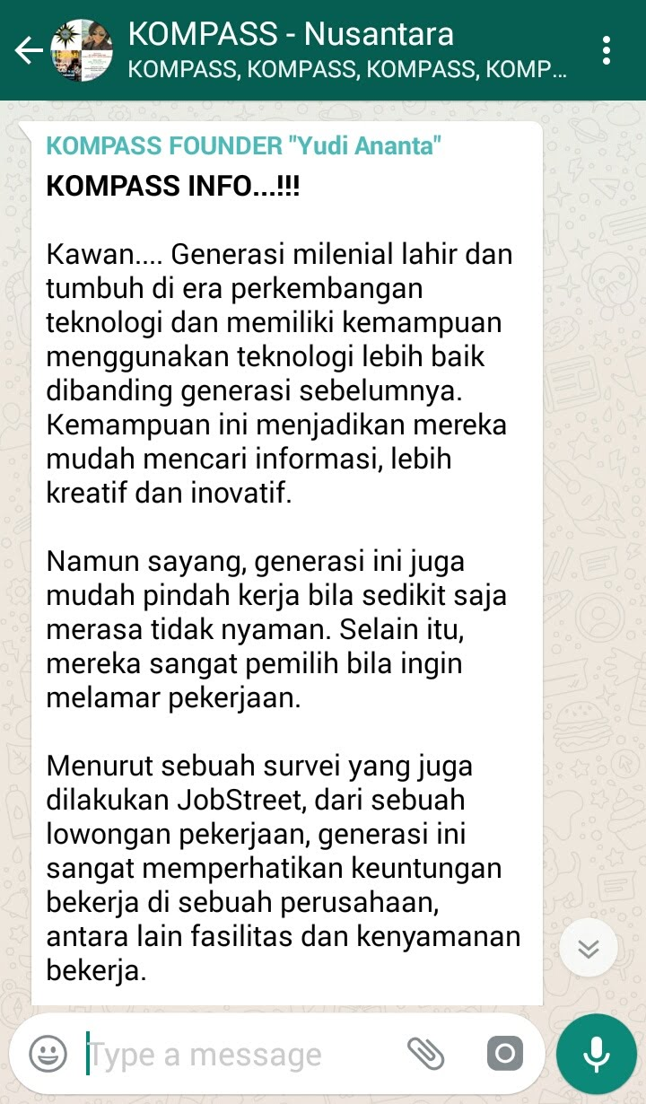Penyampaian Program Biografi KOMPASS Nusantara 31 Januari 2018 oleh Founder Yudi Ananta
