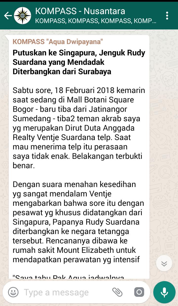 Penyampaian Aqua Dwipayana Pakar SILATURAHIM Indonesia melalui KOMPASS