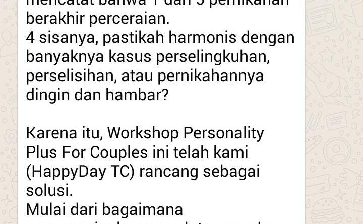 Workshop Personality Plus for Couple Acara 2 Hari 1 Malam