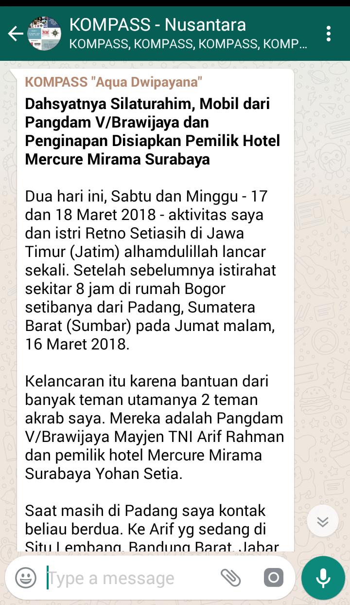 Dahsyatnya Silaturahim, Mobil dari Pangdam VBrawijaya dan Penginapan Disiapkan Pemilik Hotel Mercure Mirama Surabaya