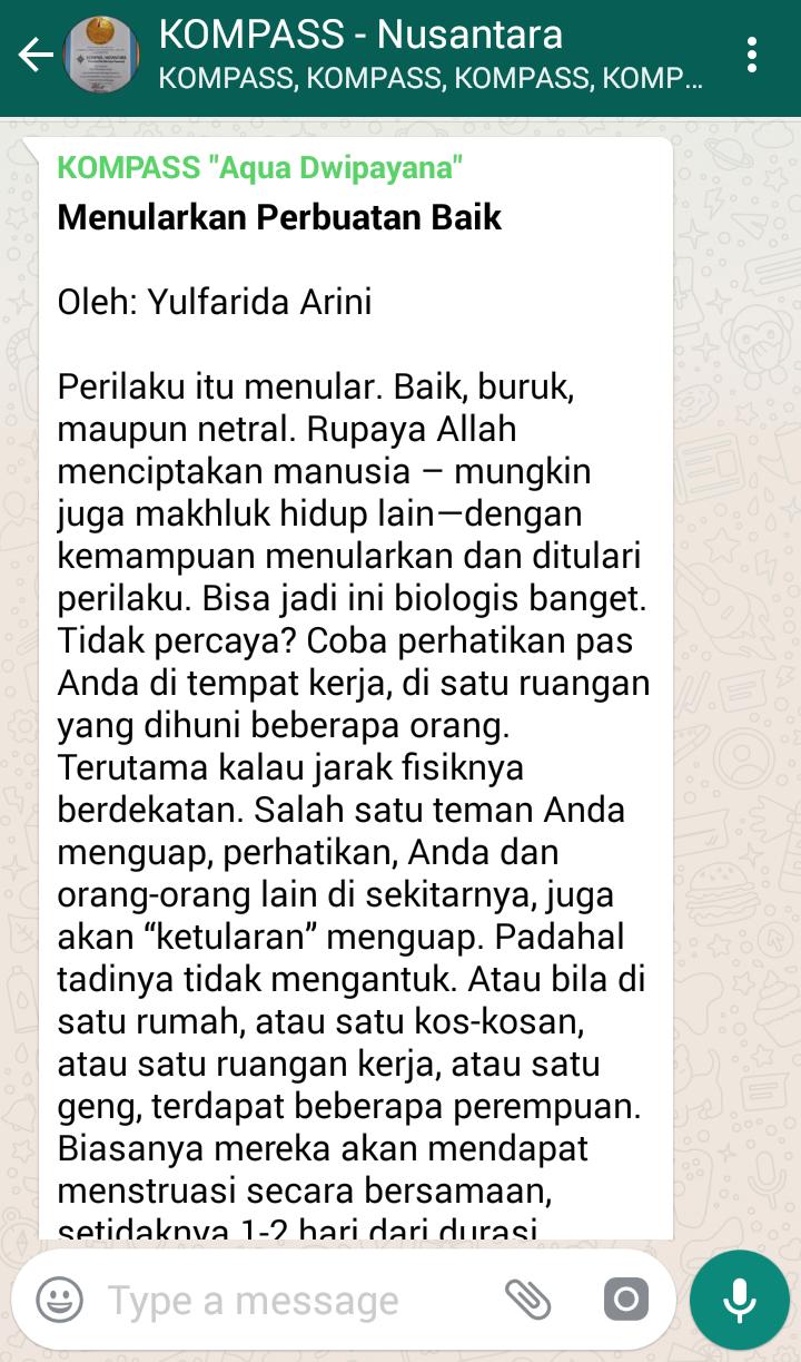 Penyampaian Aqua Dwipayana Pakar SILATURAHIM Indonesia 9 April 2018 melalui WAG KOMPASS