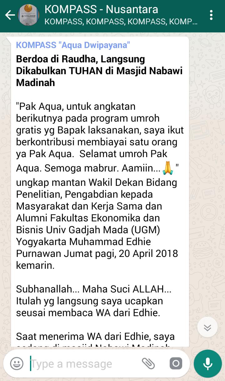 Penyampaian Aqua Dwipayana The Power of SILATURAHIM 21 April 2018 melalui WAG KOMPASS Nusantara