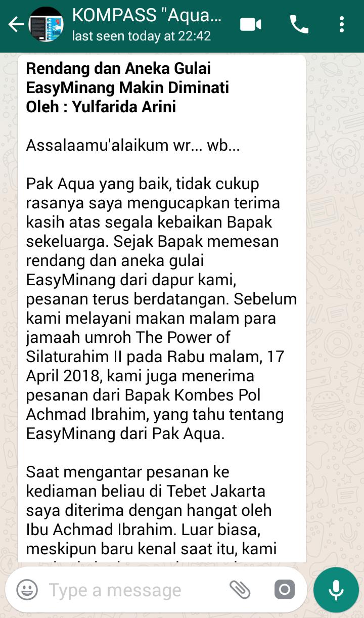 Penyampaian Aqua Dwipayana The Power of SILATURAHIM 25 April 2018 melalui WAG KOMPASS Nusantara