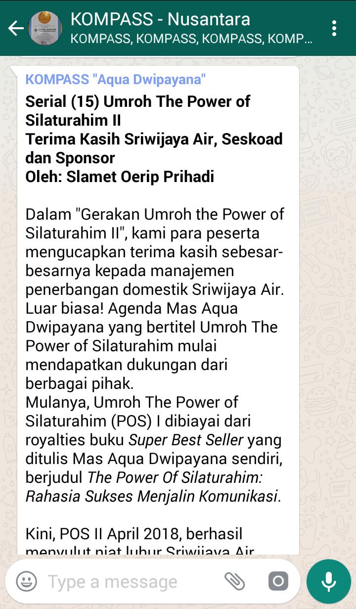 Penyampaian Aqua Dwipayana Tokoh SILATURAHIM Indonesia 19 April 2018 melalui WAG KOMPASS Nusantara