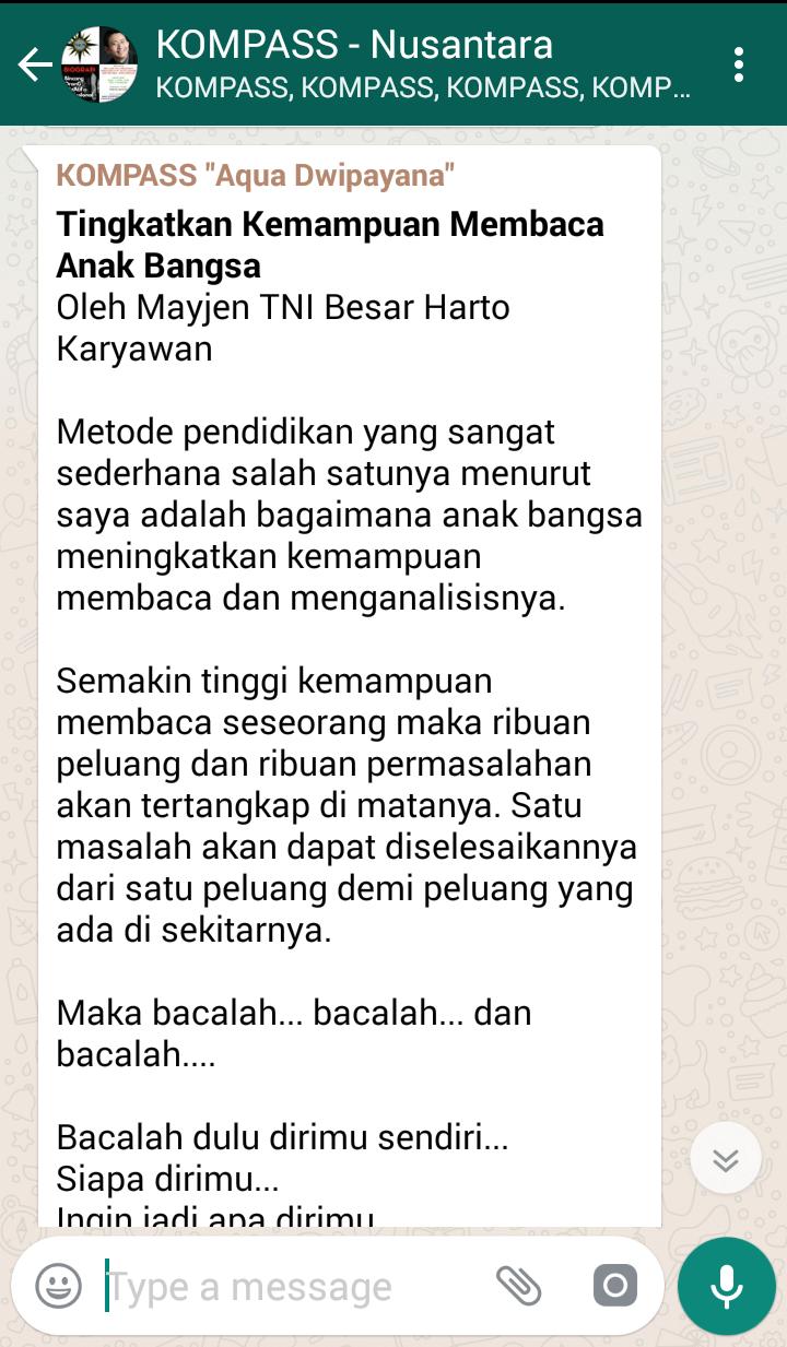 Penyampaian Aqua Dwipayana Tokoh SILATURAHIM Indonesia 3 April 2018 melalui KOMPASS