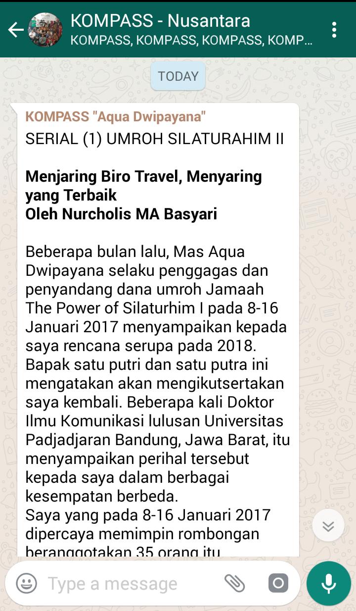 Penyampaian Aqua Dwipayana Tokoh SILATURAHIM Indonesia 6 April 2018 melaui WAG KOMPASS