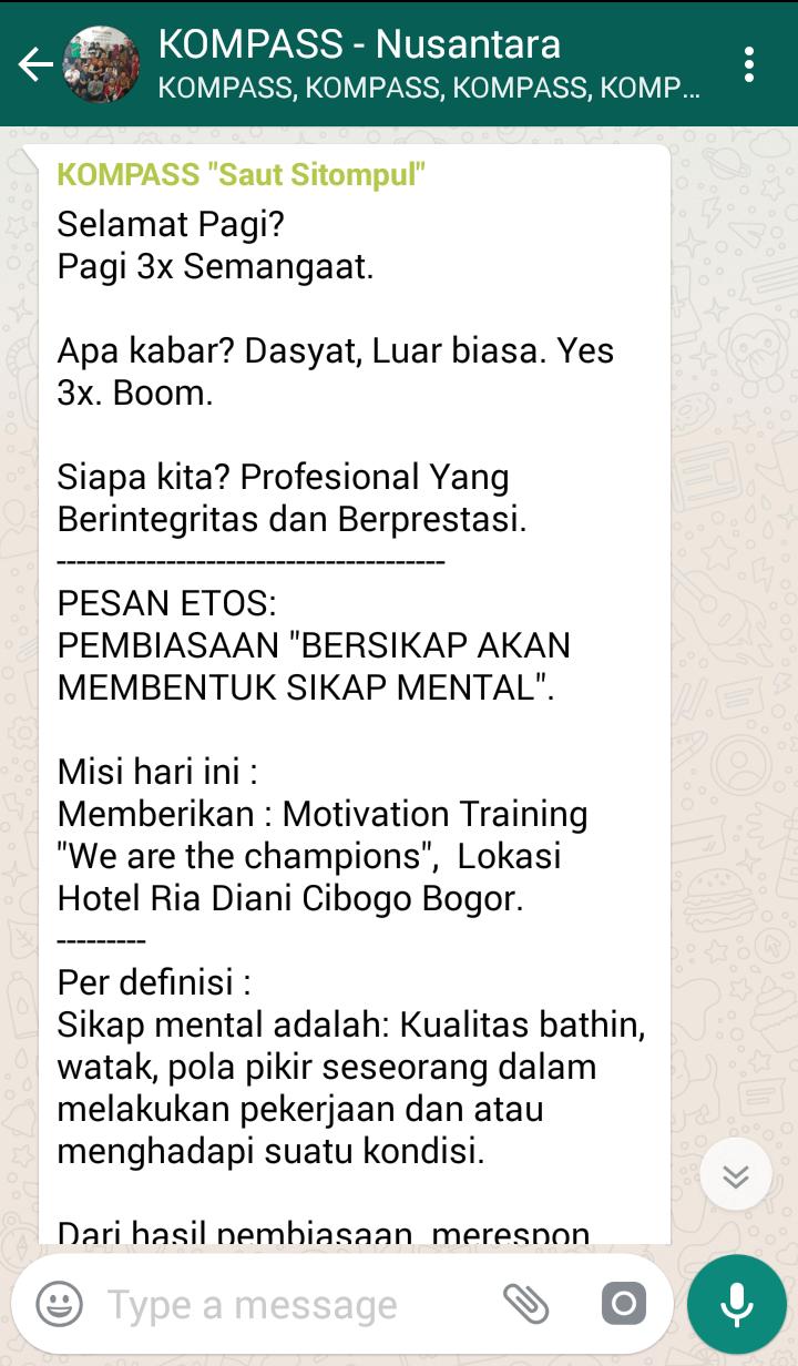 Penyampaian Saut Sitompul ETOS KERJA Indonesia 6 April 2018 melalui KOMPASS