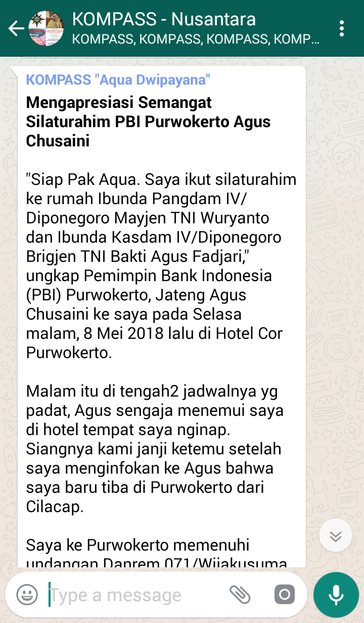 Penyampaian Aqua Dwipayana The Power of SILATURAHIM 10 Mei 2018 melalui WAG KOMPASS Nusantara