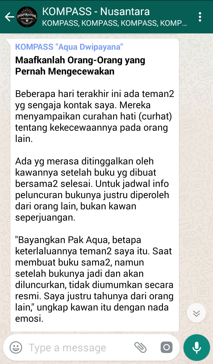 Penyampaian Aqua Dwipayana Tokoh SILATURAHIM Indonesia 7 Mei 2018 melalui WAG KOMPASS