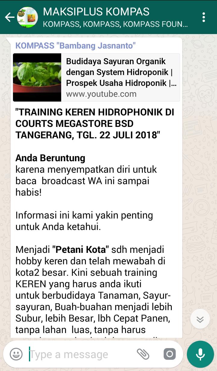 Penyampaian Bambang Jasnanto Pakar HIDROPONIK Indonesia 26 Mei 2018 melalui KOMPASS