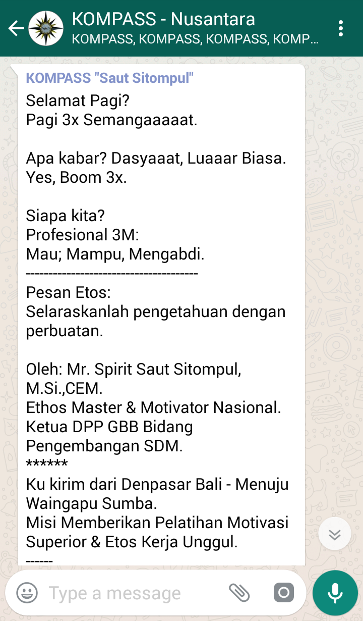 Penyampaian Saut Sitompul Pakar ETOS KERJA Indonesia 15 Mei 2018 melalui WAG KOMPASS