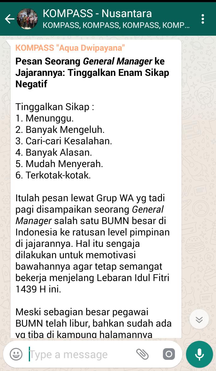 Penyampaian Aqua Dwipayana Pembicara SILATURAHIM Indonesia 13 Juni 2018 melalui KOMPASS Nusantara