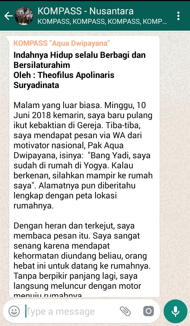Penyampaian Aqua Dwipayana The Power of SILATURAHIM 11 Juni 2018 melalui KOMPASS