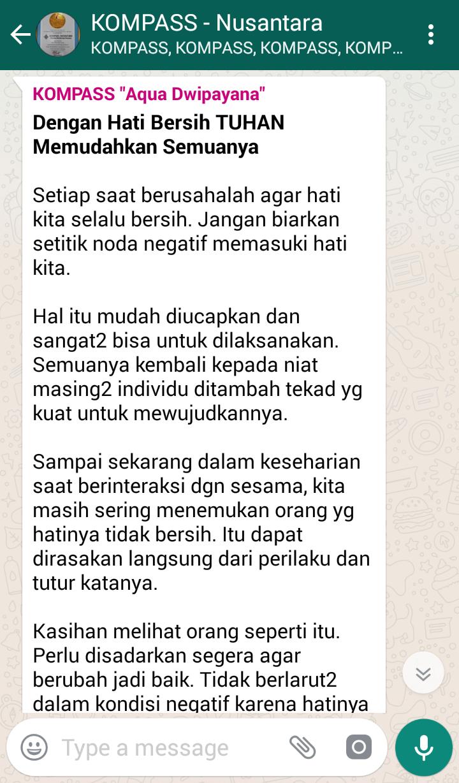 Penyampaian Aqua Dwipayana Pakar SILATURAHIM Indonesia 13 Juli 2018 melalui WAG KOMPASS Nusantara