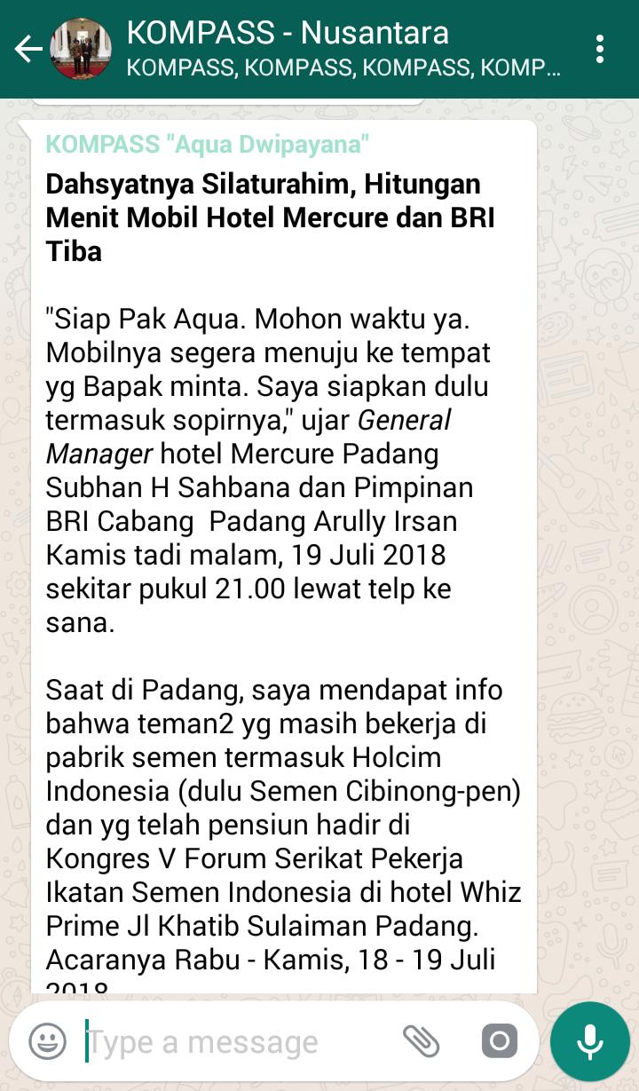 Penyampaian Aqua Dwipayana Pakar SILATURAHIM Indonesia 20 Juli 2018 melalui WAG KOMPASS Nusantara