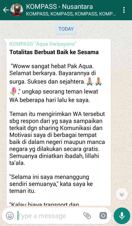 Penyampaian Aqua Dwipayana Pakar SILATURAHIM Indonesia 21 Juli 2018 melalui WAG KOMPASS Nusantara