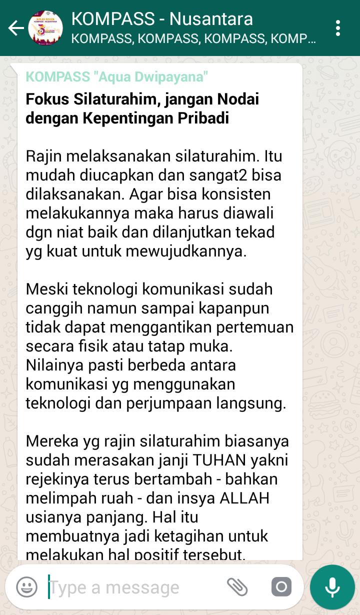Penyampaian Aqua Dwipayana Tokoh SILATURAHIM Indonesia 27 Juli 2018 melalui WAG KOMPASS Nusantara