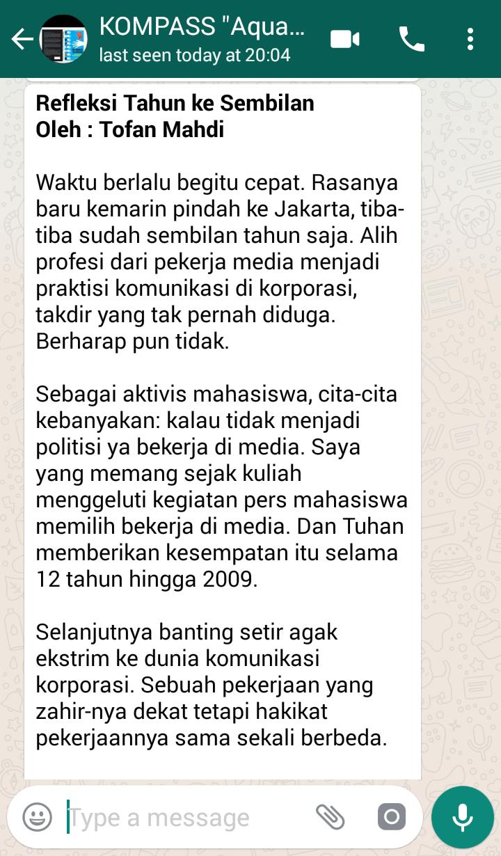 Penyampaian Aqua Dwipayana Tokoh SILATURAHIM Indonesia 7 Juli 2018 melalui WAG KOMPASS Nusantara