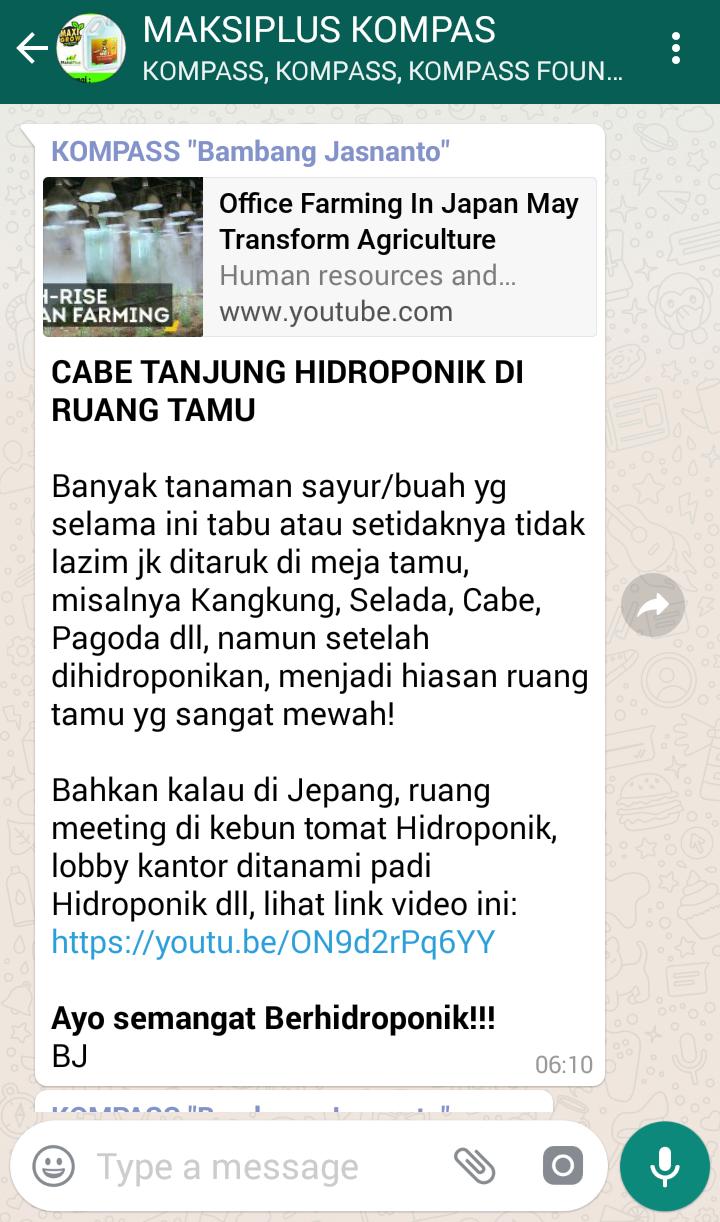 Penyampaian Bambang Jasnanto Pakar HIDROPONIK Indonesia 20 Juli 2018 melalui KOMPASS