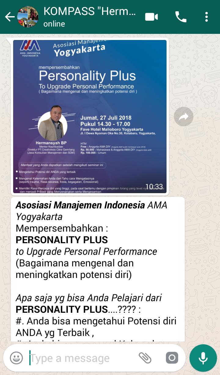 Penyampaian Hermansyah Budi Prakasa Pakar PERSONALITY PLUS Indonesia melalui KOMPASS