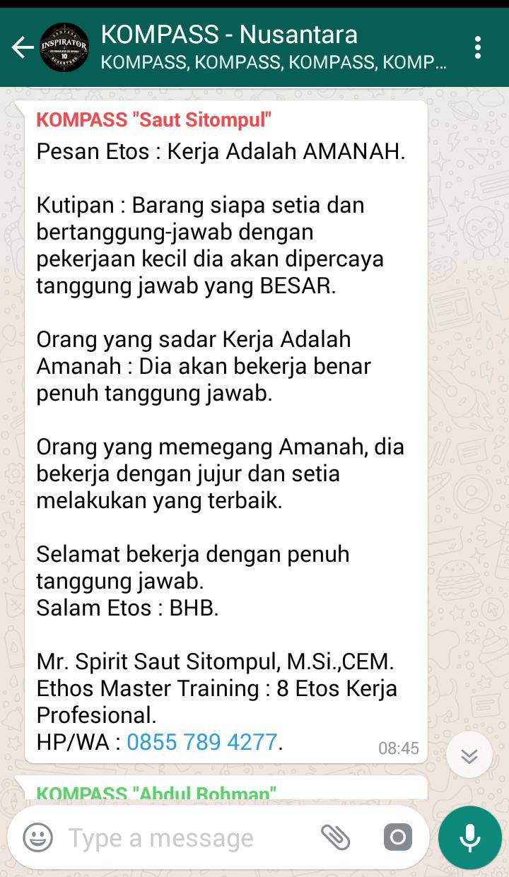 Penyampaian Saut Sitompul Pakar ETOS KERJA Indonesia 2 Juli 2018 melalui WAG KOMPASS