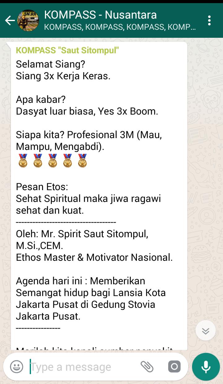 Penyampaian Saut Sitompul Pakar ETOS KERJA Indonesia 5 Juli 2018 melalui WAG KOMPASS Nusantara