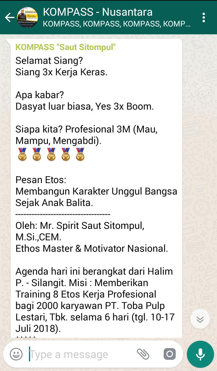 Penyamapaian Saut Sitompul Pakar ETOS KERJA Indonesia 9 Juli 2018 melalui WAG KOMPASS Nusantara