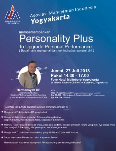 Seminar PERSONALITY PLUS Bagaimana Mengenal dan Meningkatkan Potensi diri
