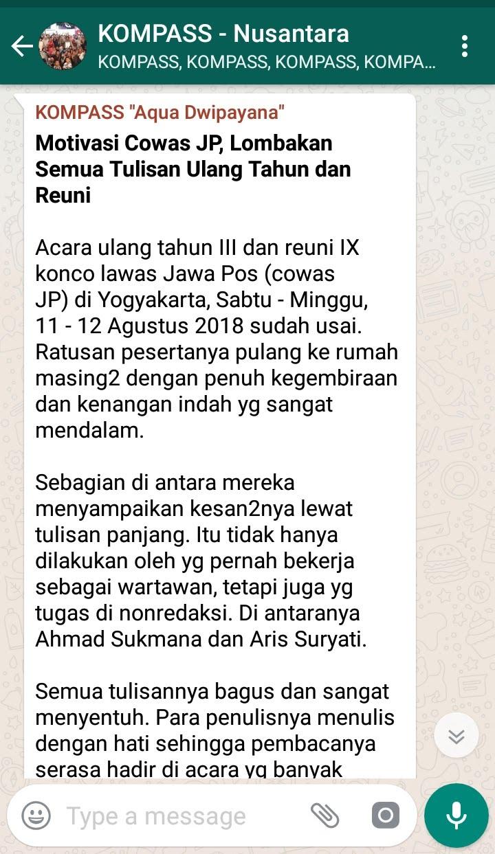 Penyampaian Aqua Dwipayana Pakar SILATURAHIM Indonesia 21 Agustus 2018 melalui WAG KOMPASS Nusantara