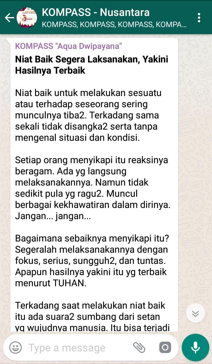 Penyampaian Aqua Dwipayana Pembicara Seminar SILATURAHIM Indonesia 6 Agustus 2018 melalui WAG KOMPASS Nusantara