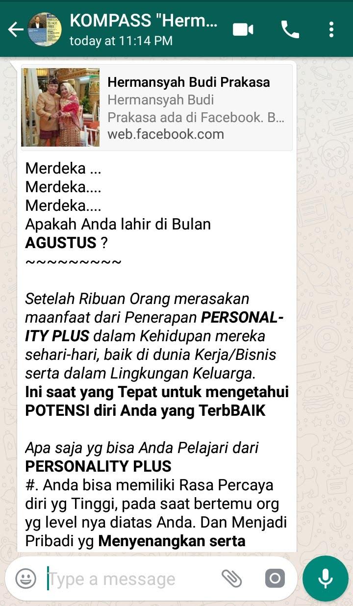 Penyampaian Hermansyah Budi Prakasa Pakar PERSONALITY PLUS 2 Agustus 2018 melalui KOMPASS Nusantara