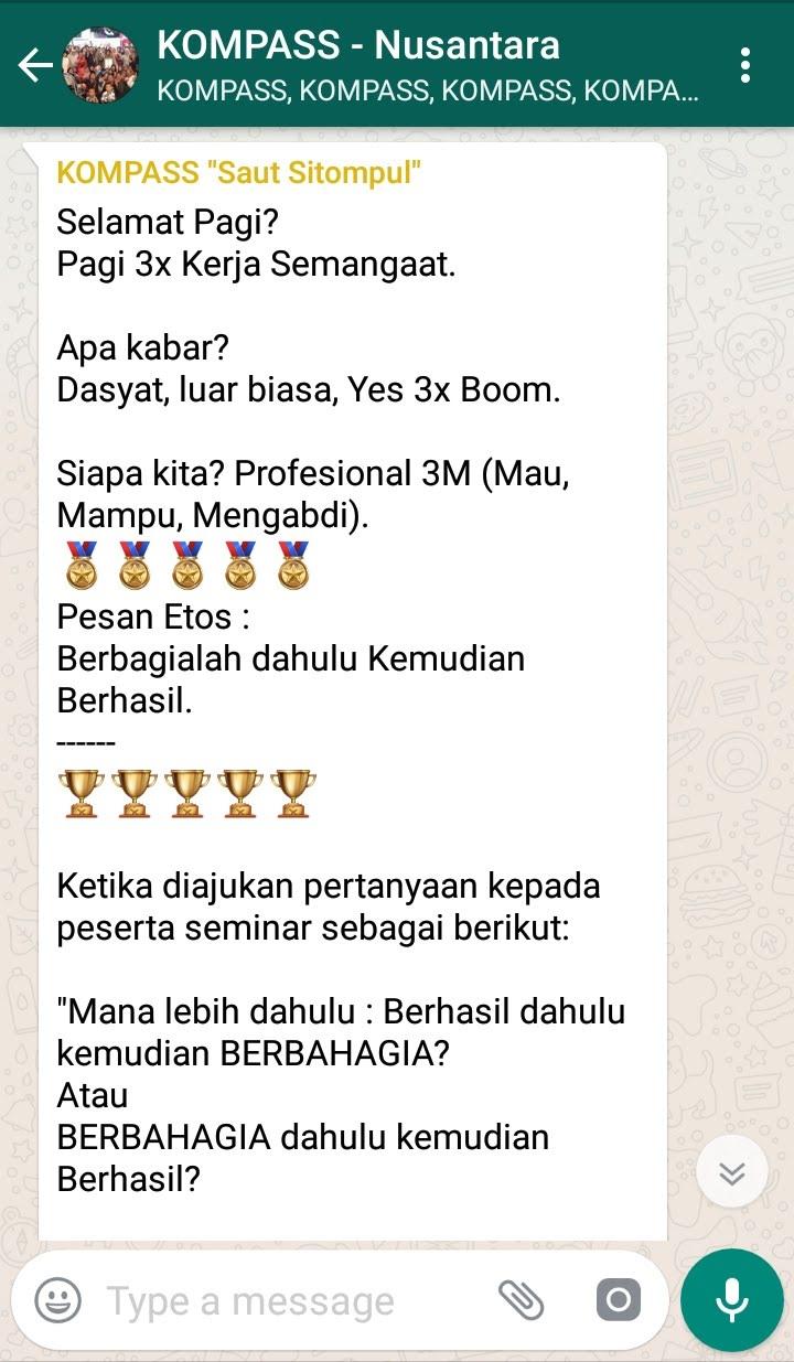 Penyampaian Saut Sitompul Guru ETOS Indonesia 21 Agustus 2018 melalui WAG KOMPASS Nusantara