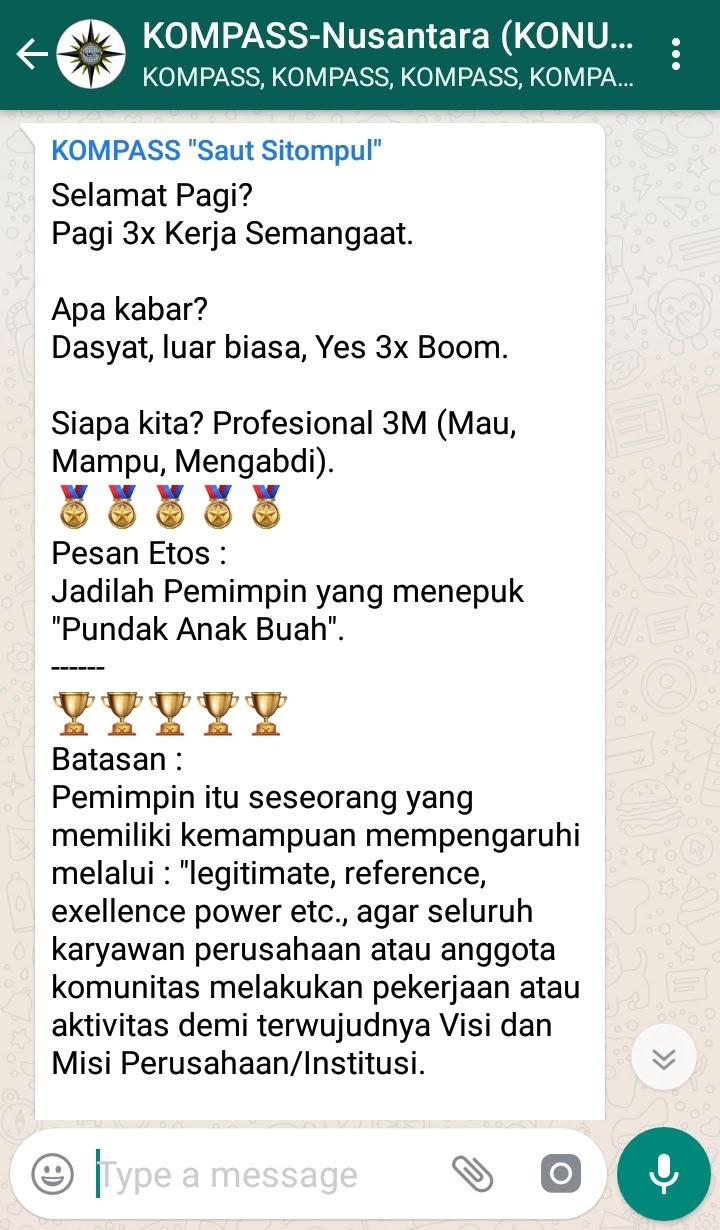 Penyampaian Saut Sitompul Pakar ETOS KERJA Indonesia 24 Agustus 2018 melalui WAG KOMPASS Nusantara