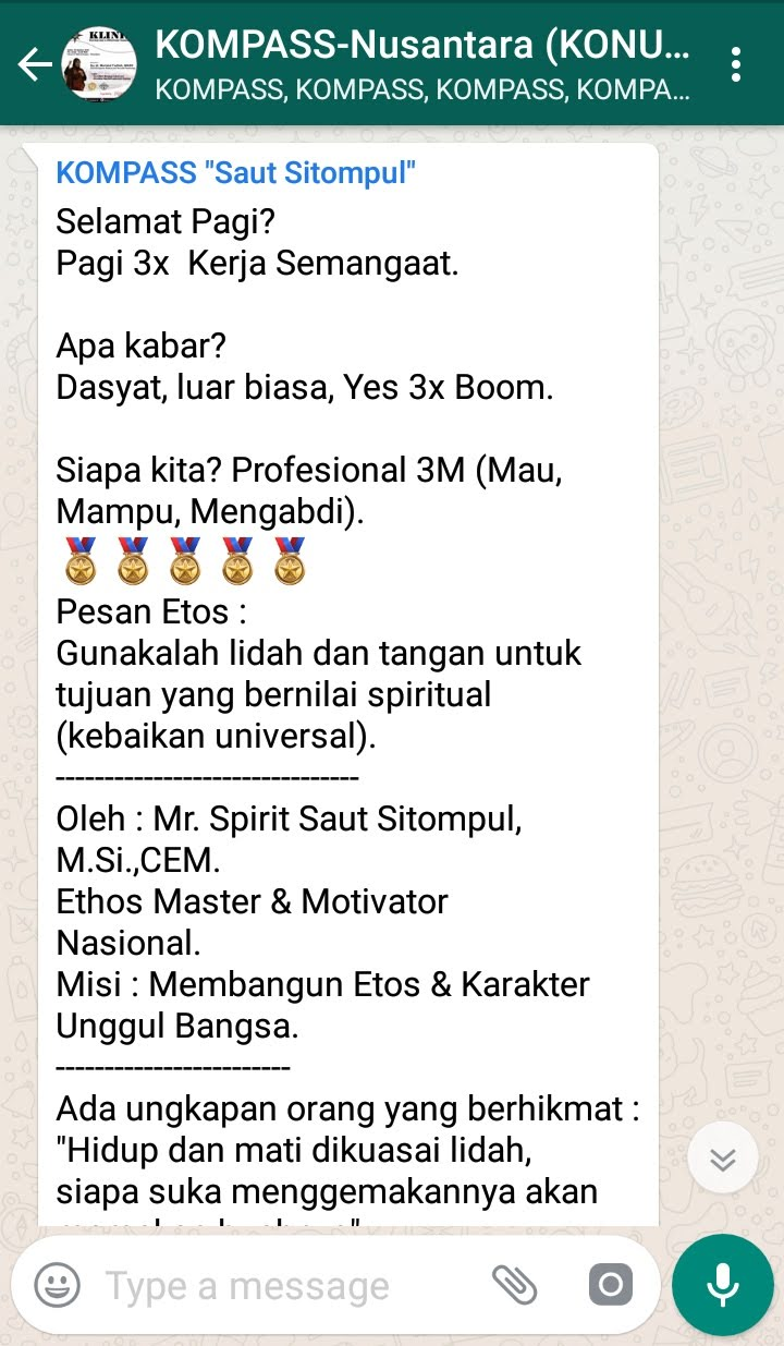 Penyampaian Saut Sitompul Pakar ETOS KERJA Indonesia 30 Agustus 2018 melalui WAG KOMPASS Nusantara