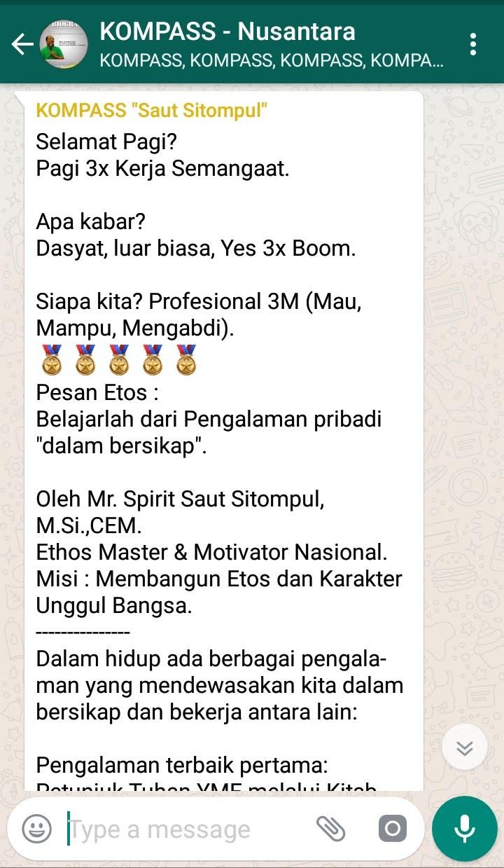 Penyampaian Saut Sitompul Pakar ETOS KERJA Indonesia 7 Agustus 2018 melalui WAG KOMPASS Nusantara