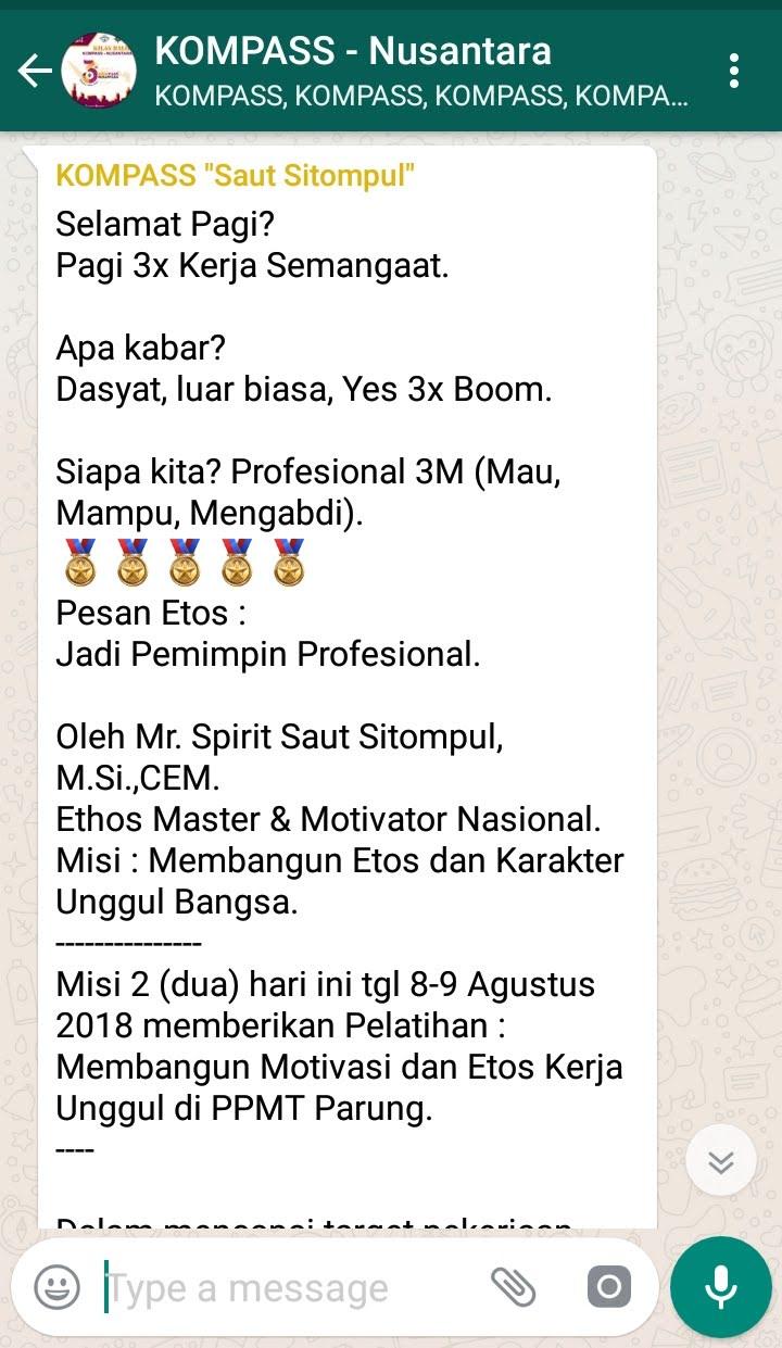 Penyampaian Saut Sitompul Pakar ETOS KERJA Indonesia 8 Agustus 2018 melalui WAG KOMPASS Nusantara