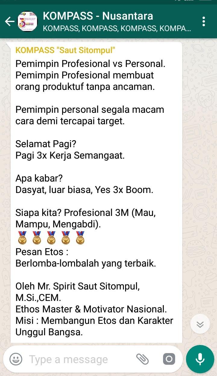 Penyampaian Saut Sitompul Pakar ETOS KERJA Indonesia 9 Agustus 2018