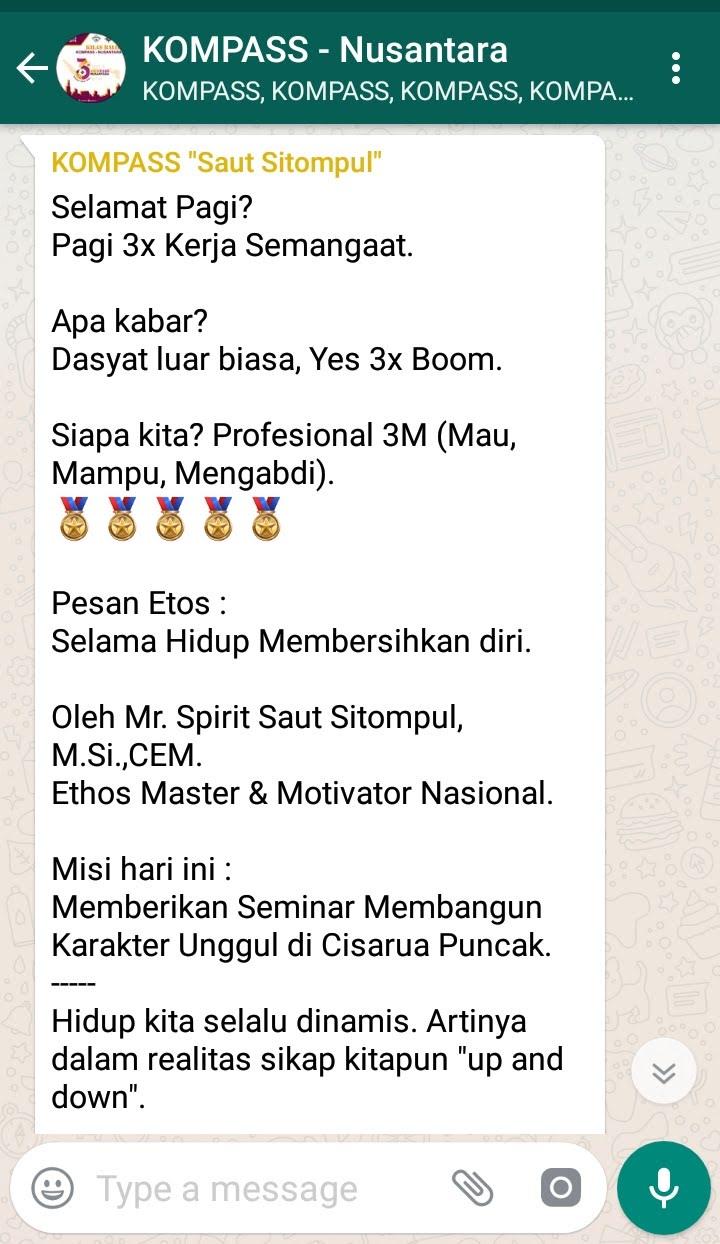 Penyampaian Saut Sitompul Pembicara Seminar ETOS KERJA Indonesia 4 Agustus 2018 melalui WAG KOMPASS Nusantara