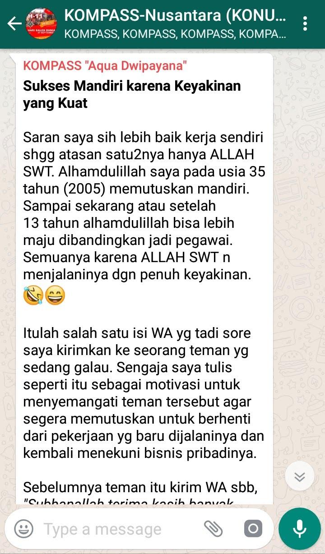 Penyampaian Aqua Dwipayana Pakar KOMUNIKASI Indonesia 16 September 2018 melalui WAG KOMPASS Nusantara
